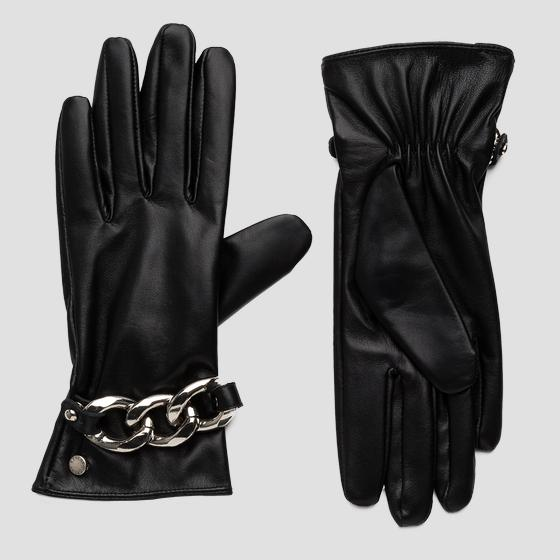Leather gloves with chain bracelet aw6073.000.a3169