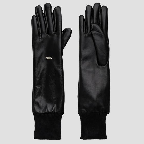 REPLAY long gloves in leather aw6074.000.a3190