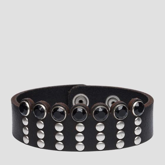Leather bracelet with studs aw7157.000.a3007