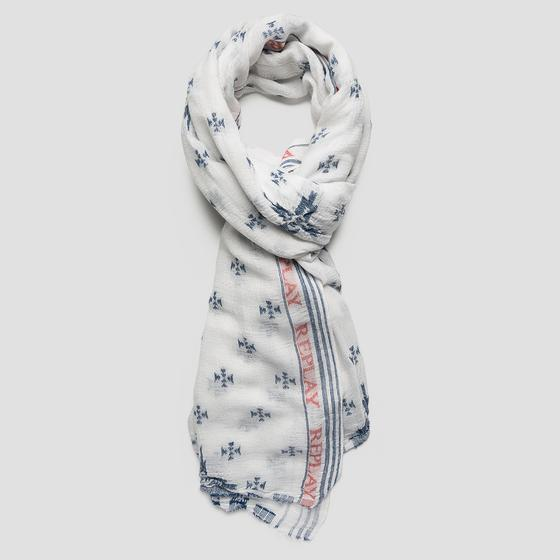 Jacquard scarf with REPLAY writing aw9240.000.a0224c