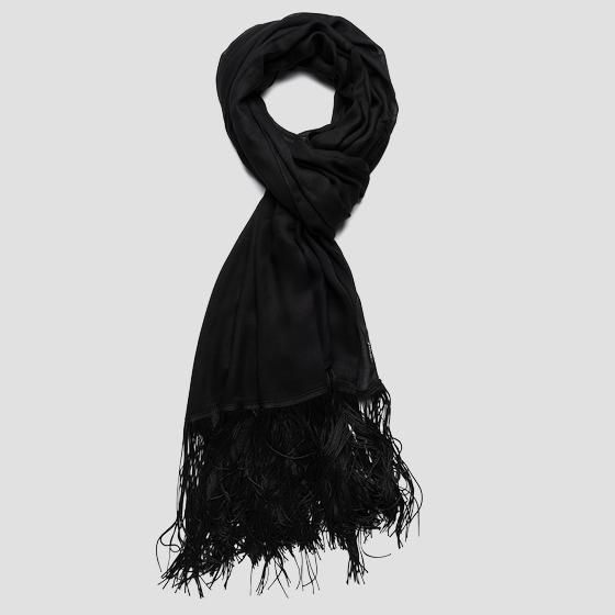 Fringed satin scarf aw9263.001.a0070