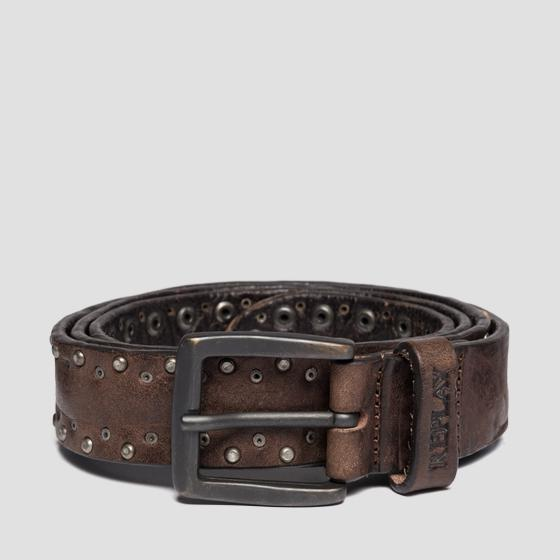 Vintage leather belt with studs ax2240.000.a3077