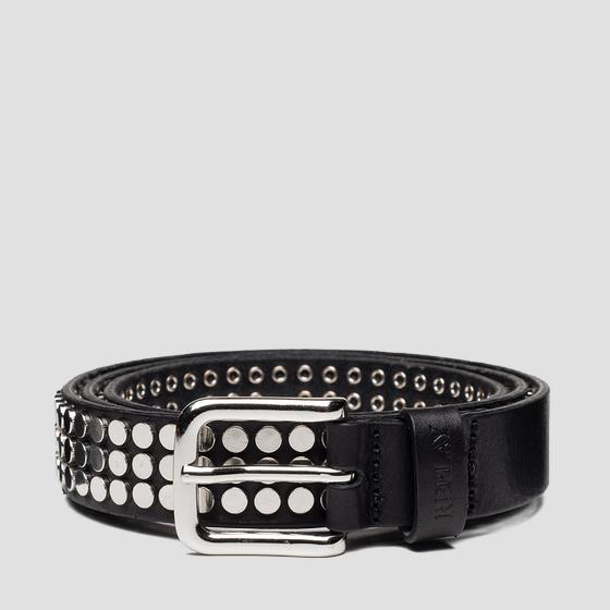 Leather belt with all-over studs ax2258.000.a3007