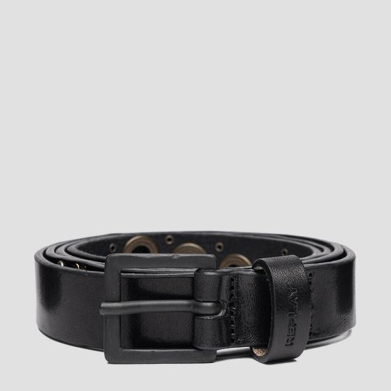 Leather belt with pierced details ax2262.000.a3007