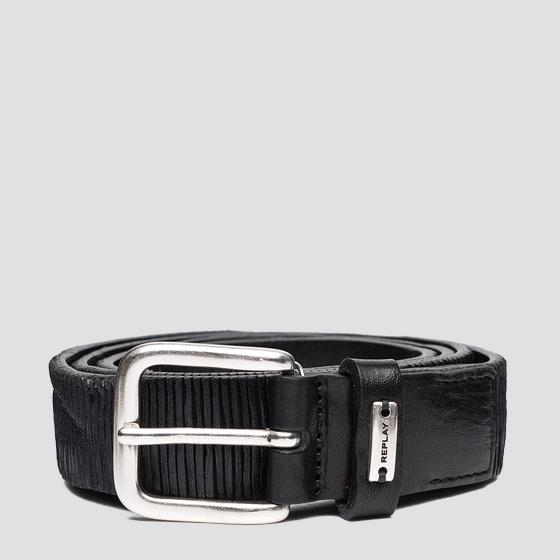Belt in patterned striped leather ax2263.000.a3114