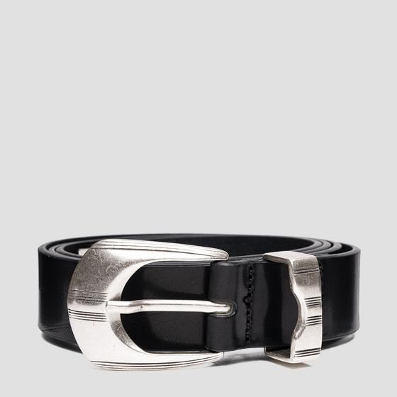 Smooth leather belt with patterned details ax2264.000.a3007