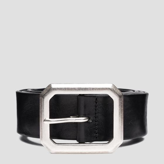 Leather belt with octagonal buckle ax2265.000.a3007
