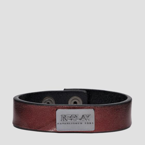 REPLAY ESTABLISHED 1981 laminated leather bracelet ax7166.001.a3021c
