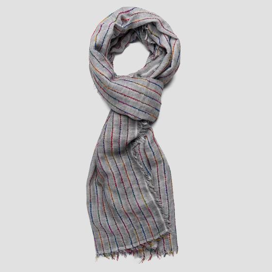 Scarf with contrasting-coloured stripes ax9210.000.a0382