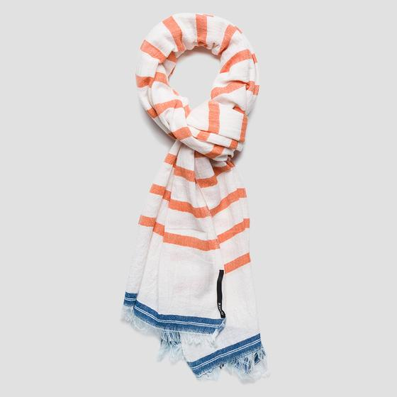 Striped jacquard cotton scarf ax9225.000.a0067a