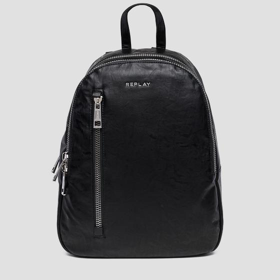 Eco-leather backpack with washed effect fm3370.000.a0376