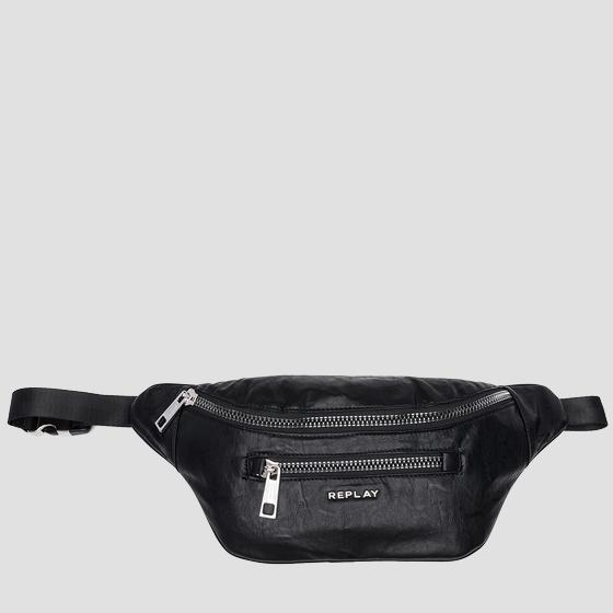 Eco-leather waist bag with washed effect fm3372.000.a0376