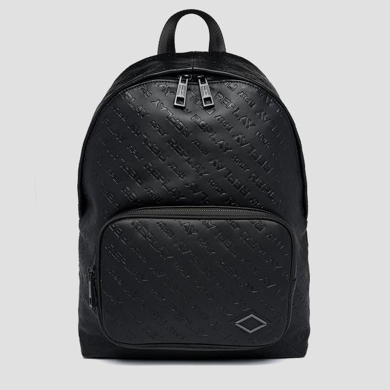 Solid-coloured backpack with all-over REPLAY writing fm3527.000.a0157c