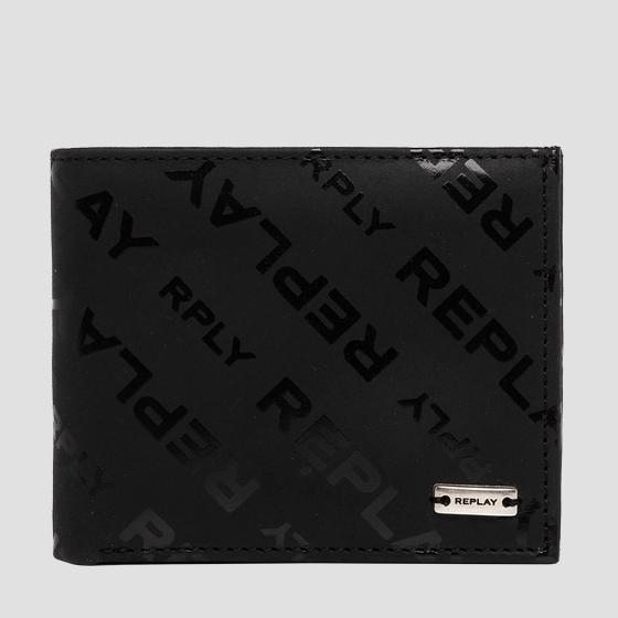 Leather wallet with REPLAY print fm5217.000.a3178
