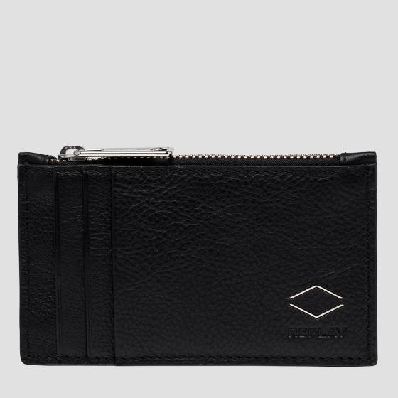 REPLAY cardholder in hammered leather fm5239.000.a3063b