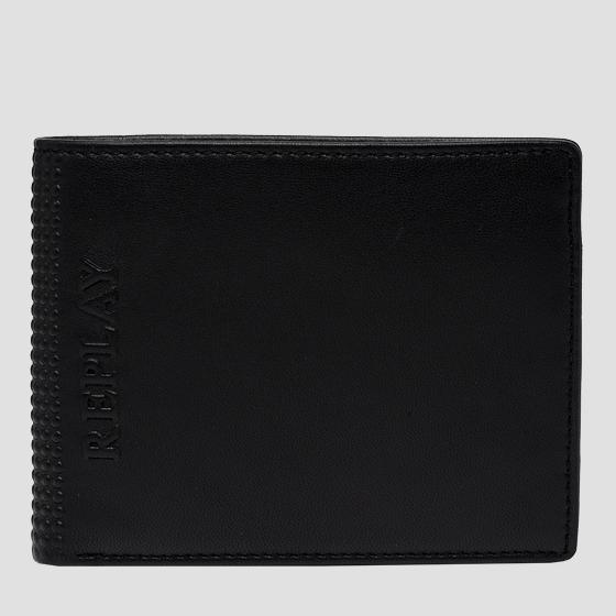 Leather wallet with embossed edge fm5245.000.a3063