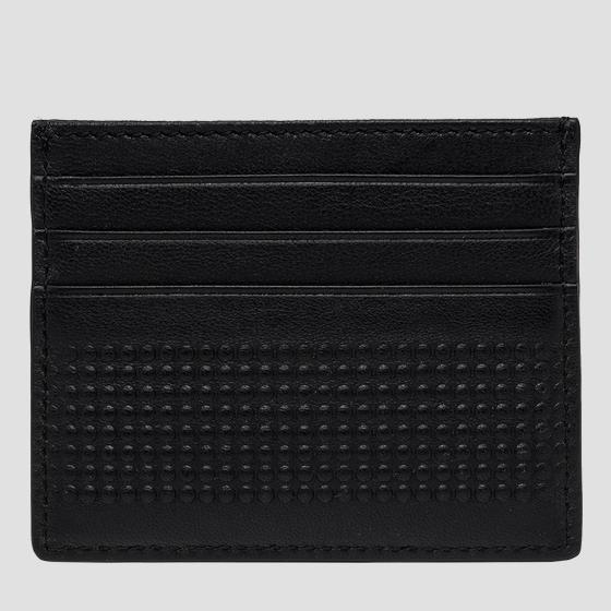 Leather cardholder with dimpled outline fm5247.000.a3063