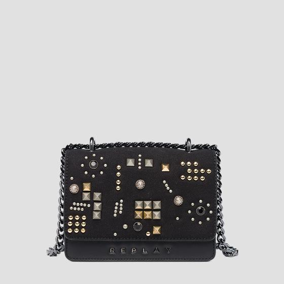 Leather denim crossbody bag fw3001.011.a3155