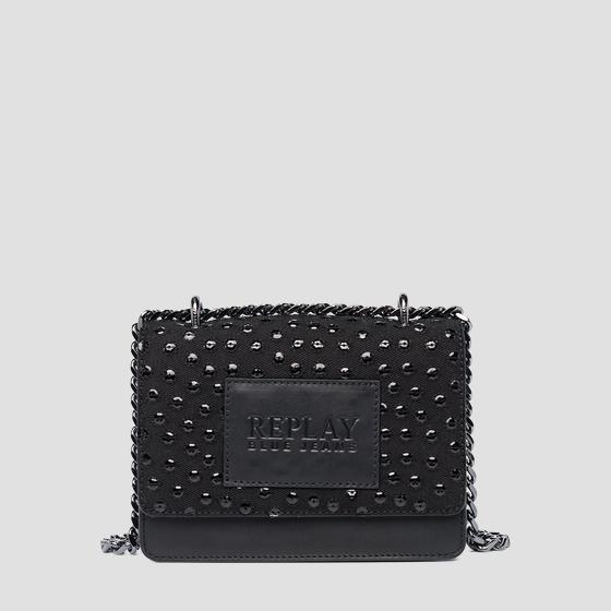Leather denim crossbody bag fw3001.012.a3155