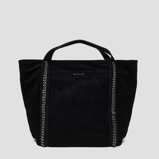 Shopper in suede con catene fw3836.010.a3154