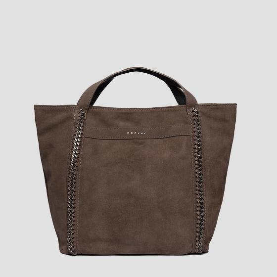 Shopper bag in suede with chains fw3836.010.a3154
