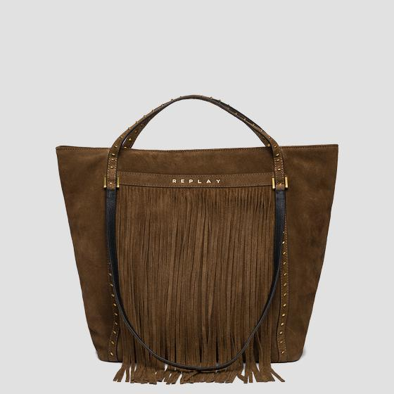 Suede shoulder bag with fringes fw3836.016.a3154