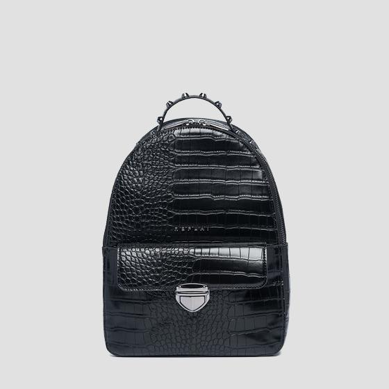 Eco-leather backpack with crocodile effect fw3890.000.a0292d