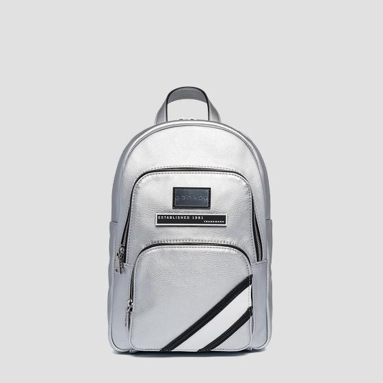 Eco-leather backpack with zipped pockets fw3923.000.a0363b