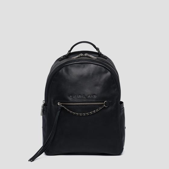 Leather backpack with chain fw3954.000.a3127c