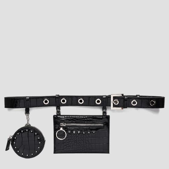Belt with croc print and coin pouch fw5271.000.a0292f