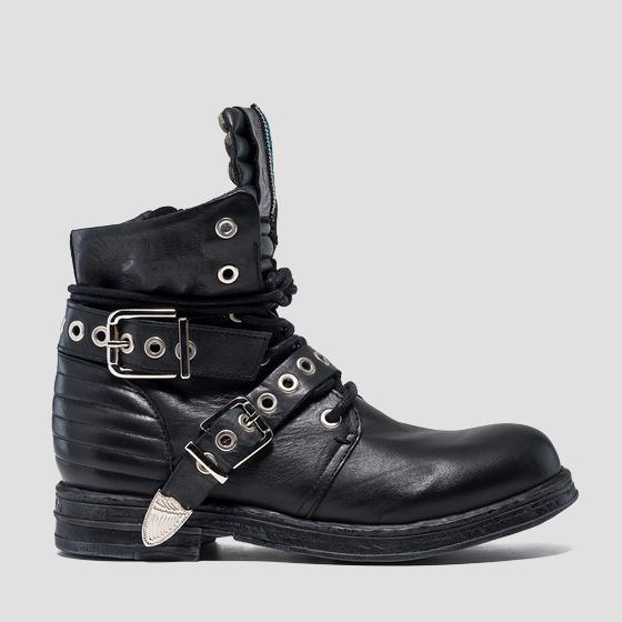 Women's LEAF lace up leather ankle boots gwl26 .000.c0073l