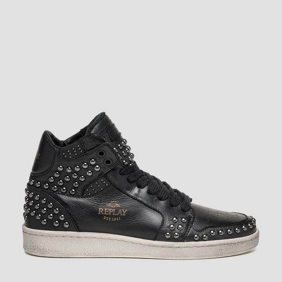 Women's WEBSTER lace up mid cut leather sneakers gwz3i .000.c0004l