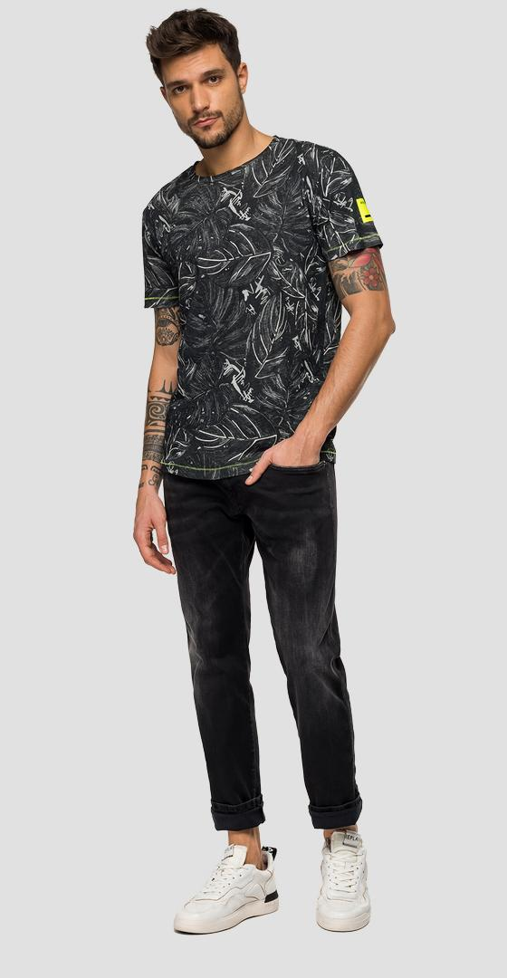 T-shirt with all-over leaves print m3045 .000.71906