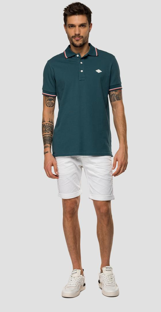 Striped polo shirt in stretch cotton piqué m3071 .000.21868