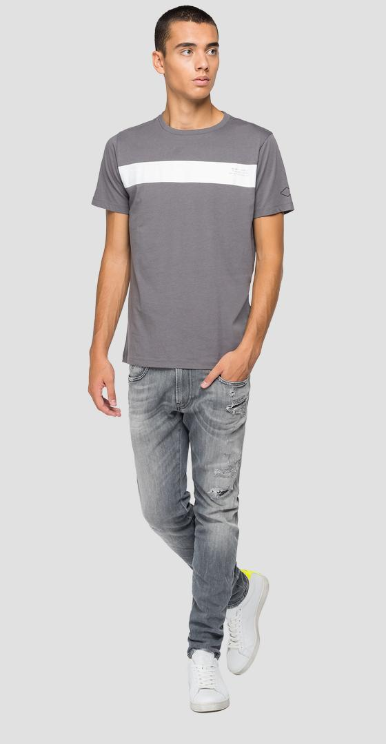 Crewneck jersey t-shirt with contrasting stripe m3364 .000.2660