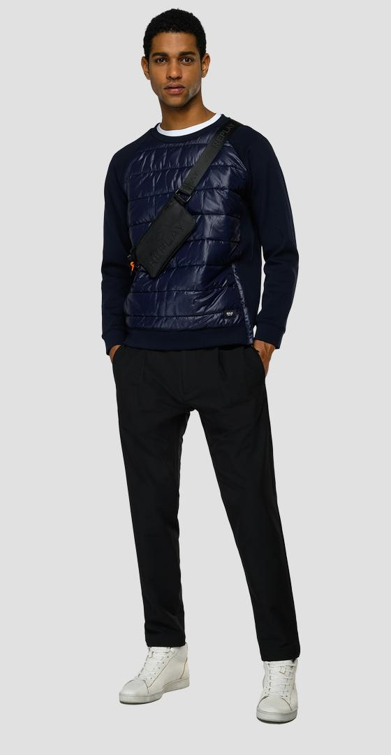 Essential REPLAY sweatshirt in technical fabric quilted at the front m3501 .000.23183