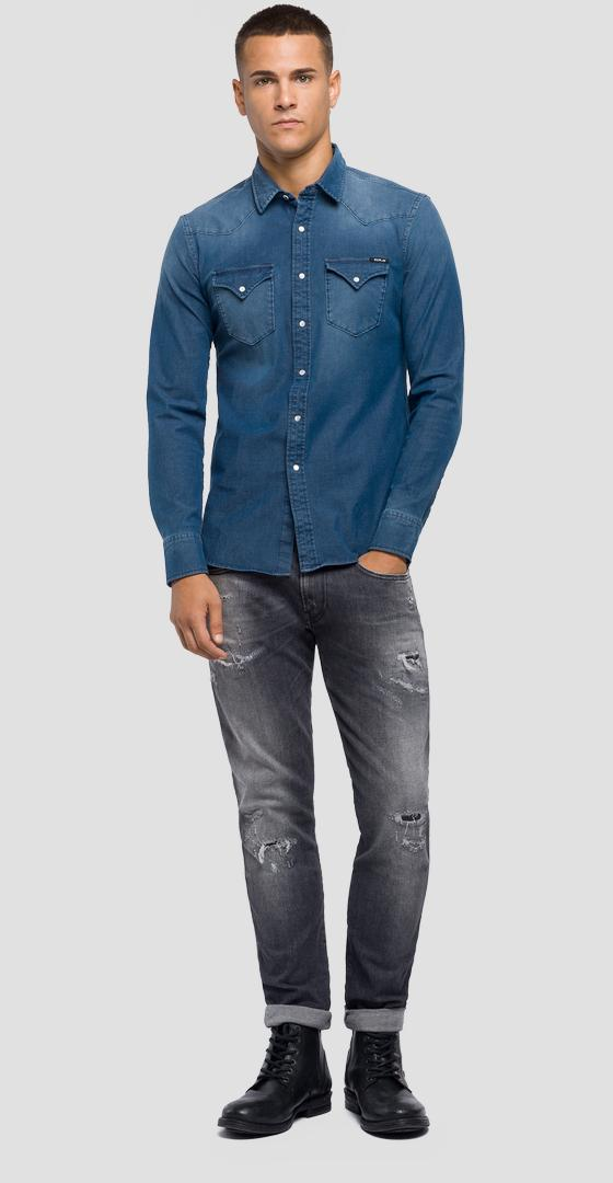 Slim Fit Hemd aus Hyperflex Denim m4001 .000.39b 357