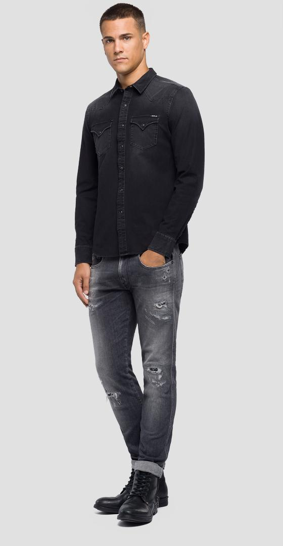 Slim Fit Hemd aus Hyperflex Denim m4001 .000.41b 337
