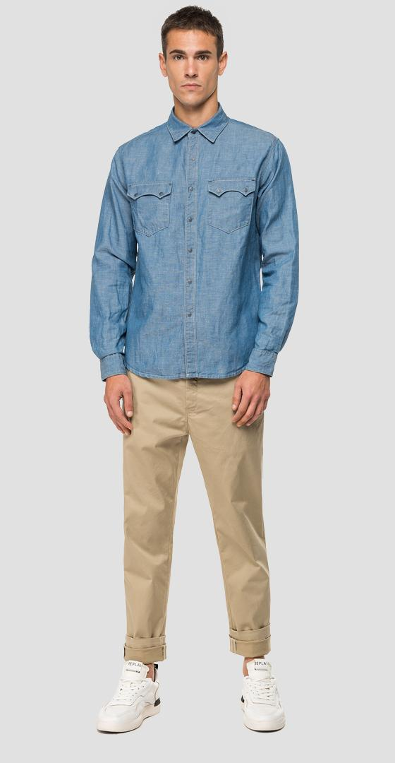 Replay Tailored shirt in cotton and linen denim m4022s.000.180 z19