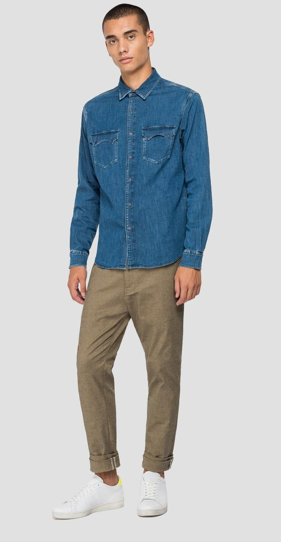 Tailored denim shirt with pockets m4022 .000.485 z38