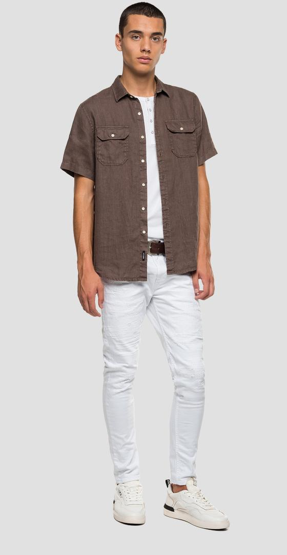 Short-sleeved linen shirt m4029 .000.81388n