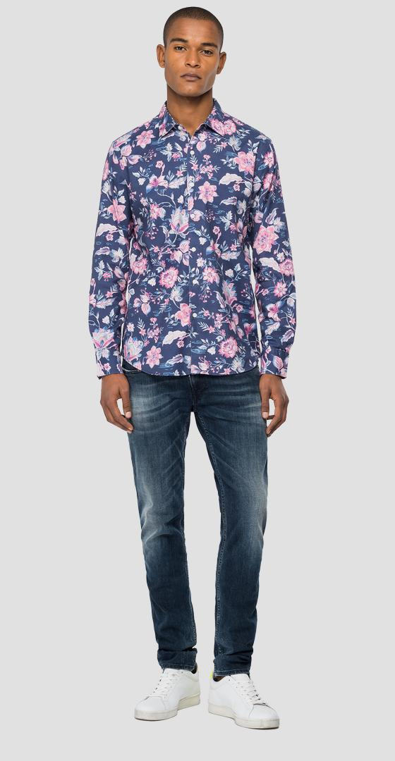 Floral shirt in dobby cotton m4049 .000.72233