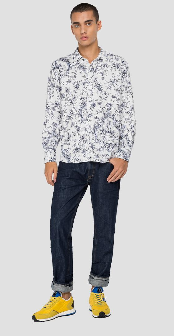 Shirt in printed dobby cotton m4049 .000.72235