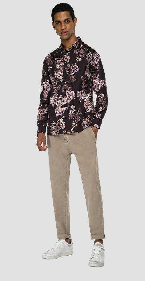 Cotton shirt with all-over print m4049 .000.73456