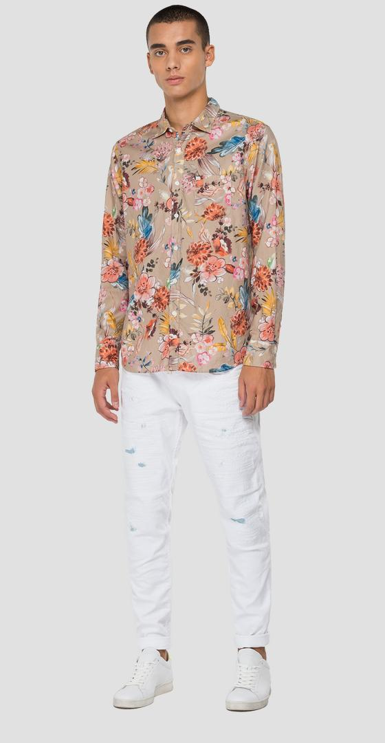 Jacquard shirt with floral print m4053 .000.72216