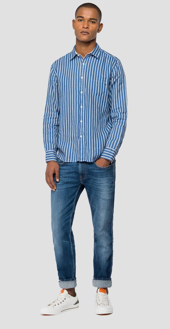Shirt in striped linen m4053 .000.72308