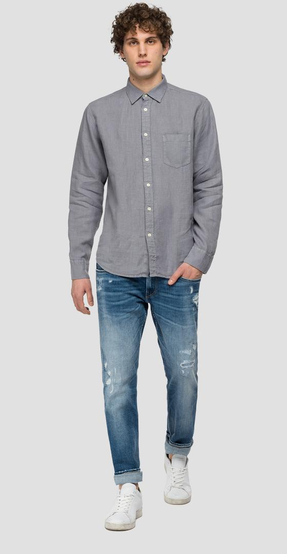 Linen shirt with pocket m4053 .000.81388n