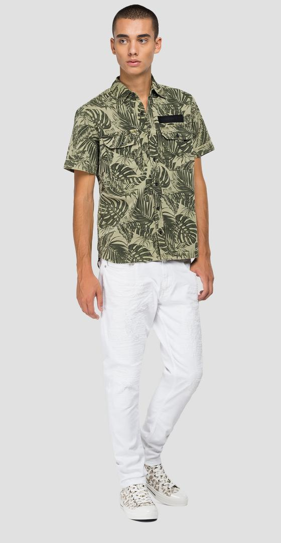 Short-sleeved shirt with foliage print m4061 .000.72300