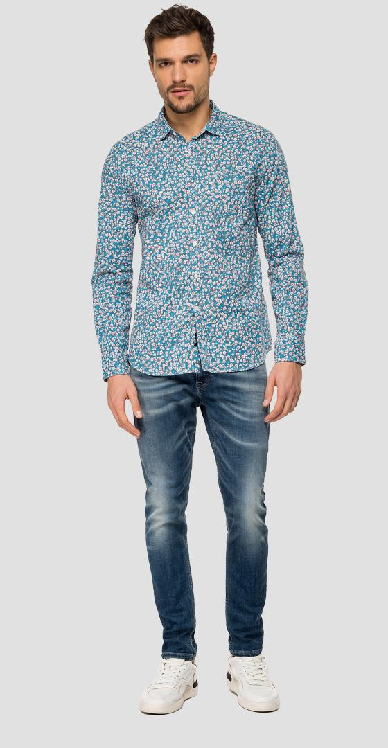 Cotton shirt with floral print m4953p.000.71958