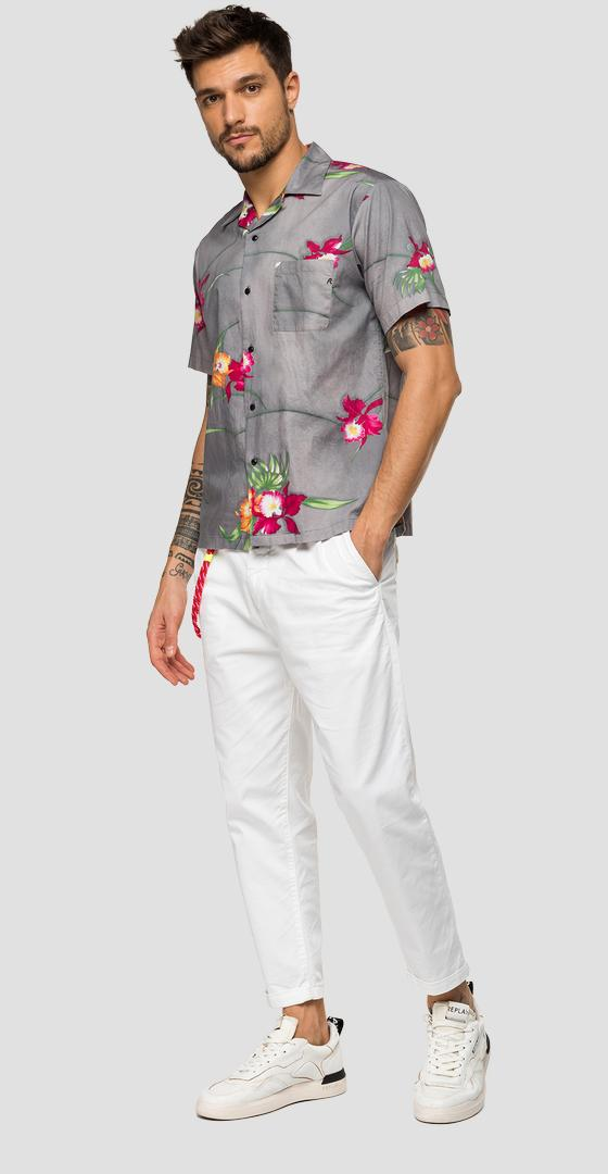 Shirt with pocket and floral print m4985 .000.71964